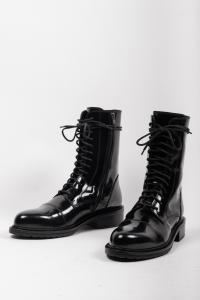 Ann Demeulemeester Lacquered Pointy Toe Combat Boots