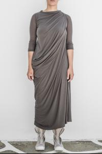 Rick Owens Lillies Bias Cut Draped Asymmetric Three Quarter Dress