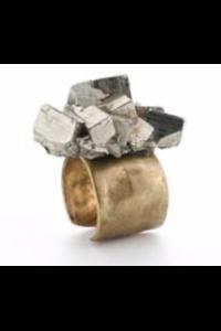 11X Milano Natural Pyrite Adjustable Ring