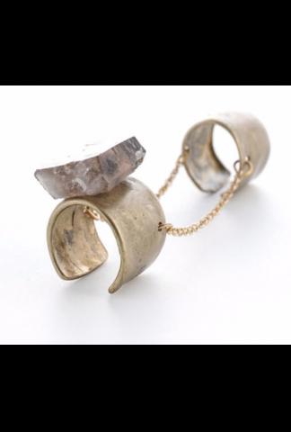 11X Milano Smokey Quartz Brass Double Ring