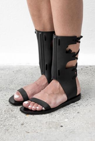 Rick Owens Back Lace Full Grain Cow Leather Sandals
