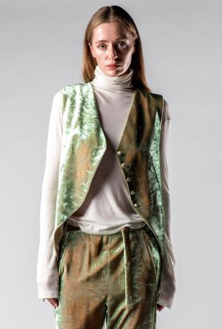 Ann Demeulemeester Iridescent Velvet Adjustable Waistcoat