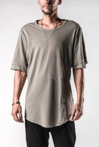 Lost&Found Curved Hem Double Layered Sleeve Short Sleeve T-shirt