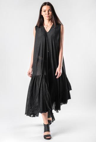 Barbara Bologna Pleat Panelled Shiny Jersey Dress