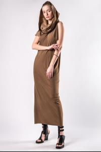 Andrea Ya'aqov One-sleeve Cowl Hood Dress
