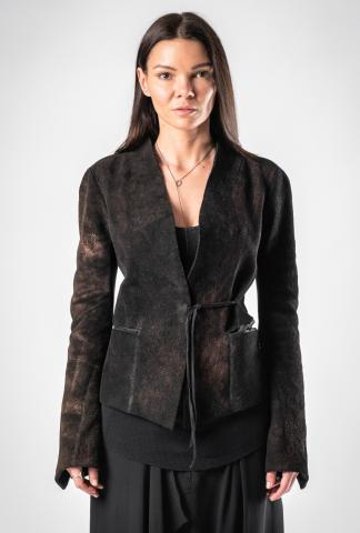 Alessandra Marchi Coated Leather Jacket with Ribbed Jersey Inserts