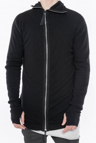 Boris Bidjan Saberi Balaclava-Style Rib Knit Zipper Jacket