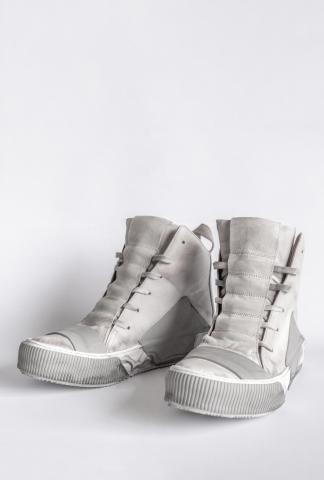 Boris Bidjan Saberi BAMBA1 Light Grey High Top Leather Sneakers
