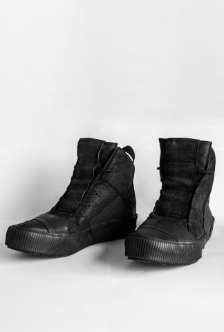 Boris Bidjan Saberi BAMBA1 Black High Top Leather Sneakers
