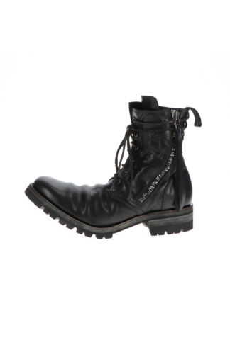 D.HYGEN Horse Leather Lace-Up Combat Boots