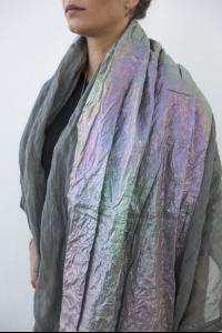 Simona Tagliaferri Textured Metal and Silk Blend Scarf with Iridescent Panel