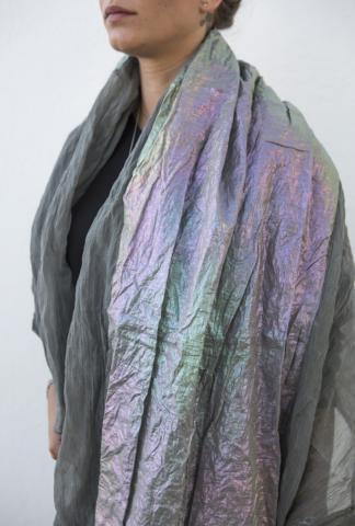 Simona Tagliaferri Textured Metal and Silk Blend Scarf with Iridescent Panel