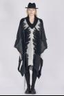 Isabel Benenato Alpaca big v neck cape with floating thread