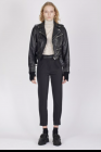 Isabel Benenato Washed scratched calf leather biker