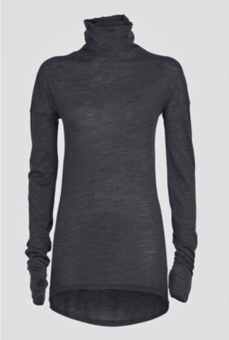Isabel Benenato Turtle neck wool jersey shirt with fingerhole