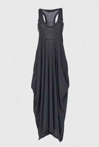 Isabel Benenato Sleeveless long wool jersey asymmetric dress