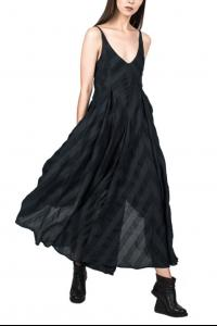139DEC Striped Draped Asymmetric Dress