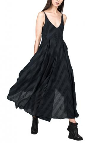 139DEC Striped Draped Asymmetric Dress