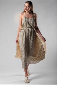 A Tentative Atelier Sontag Semi Pleated Silk Striped Dress