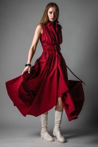 Marc Le Bihan Laced Sleeveless Shirt Dress