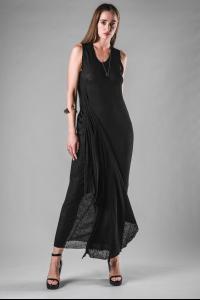 Marc Le Bihan Asymmetric Linen Side Drape Dress