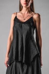 Marc Le Bihan Tulle Layered Elongated Silk Top