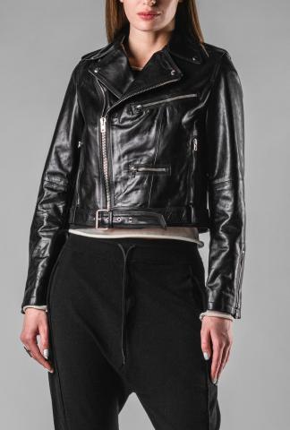 Isabel Benenato Calf Leather Biker Jacket
