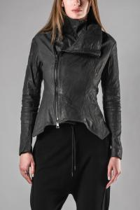 MUT Side Zip high Collar Leather Jacket