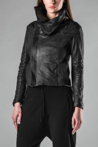 MUT High Collar Asymmetric Leather Jacket