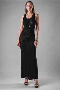 Alessandra Marchi Silk Hand Embroidered Applique Long Dress