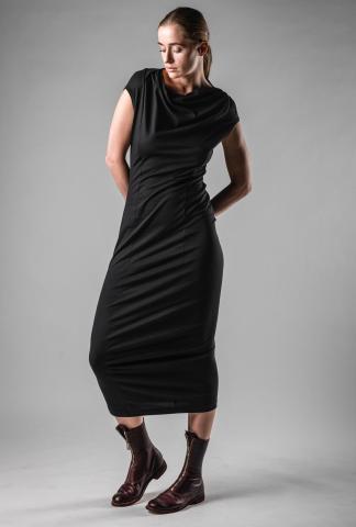 Rundholz Draped Neck Slim Dress