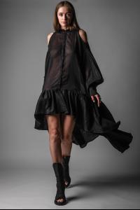 Theodora Bak Buttoned Courtesan Long Dress