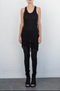 Alessandra Marchi Semi Sheer Elongated Slip Top