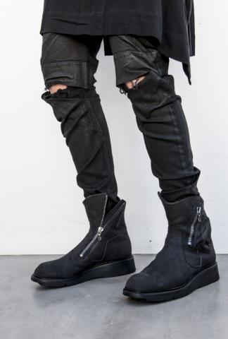 Julius_7 Nubuck Cow Leather Slash-Zipped MA-1 Pocket Engineer boots