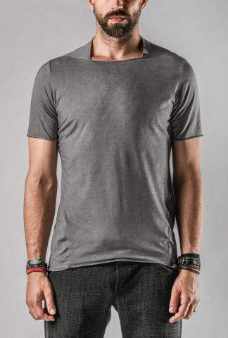 M.A+ Unevenly Cut Square Neck Short Sleeve T-shirt (8cm Elongated)