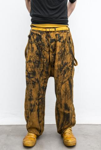 Boris Bidjan Saberi P2 pullable easy pants hand-painted mustard-yellow