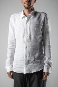 Individual Sentiments Curved Hem Anatomical Linen Shirt