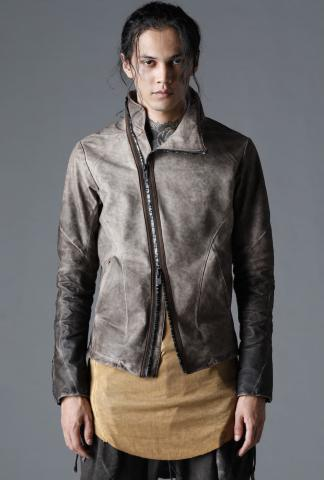 D.HYGEN Cold Dyed Horse Leather High Neck Jacket