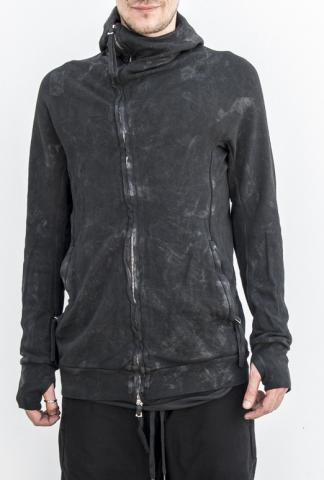 Boris Bidjan Saberi ZIPPER2 ninja zipped hoodie (obj.dyed vinyl processed)