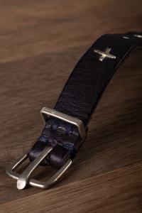 M.A+ F2B1 Sterling Silver Cross Studded Leather Bracelet