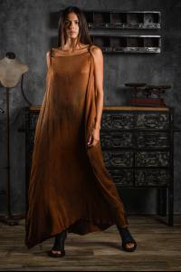 AtelierSeptem Textured Silk Rust Dress with Belt
