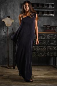 AtelierSeptem Textured Silk Flat Rectangle Long Dress