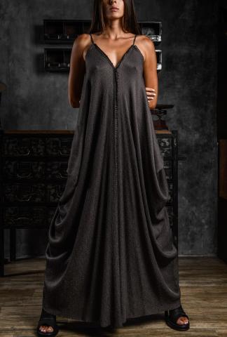 AtelierSeptem Textured Silk Butterfly Long Dress