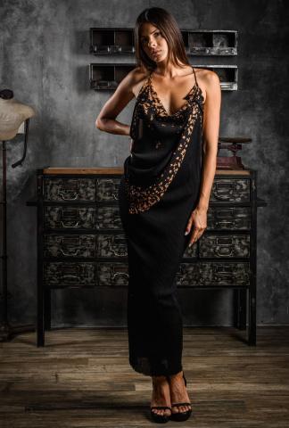 AtelierSeptem Japanese Cotton Jersey Corrosion Mid-length Dress