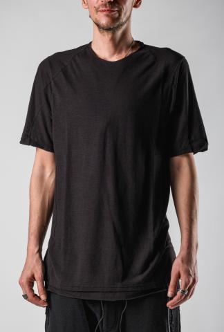 Devoa Back Seams Double Layered Front Short Sleeve T-shirt