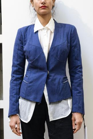 Alessandra Marchi Chainstitch Lapel-less Short Jacket