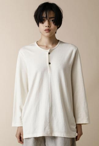 Individual Sentiments WOVEN HENRY NECK 3/4 SLEEVE T-SHIRTS