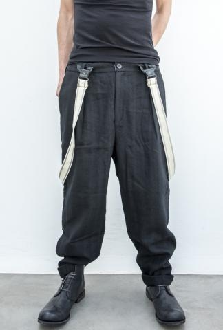 Aleksandr Manamis Heavy Loose Trousers with Suspenders