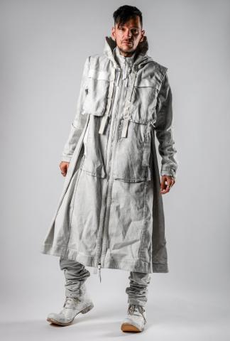 Boris Bidjan Saberi PARKA COAT 2.1 Punk Grey Modular Long Hooded Coat