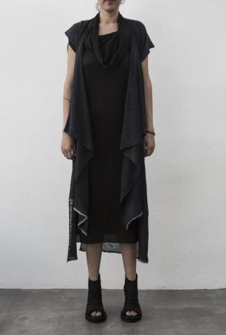 M.A+ NCW326B Knitted Sleeveless Wrap Cardigan